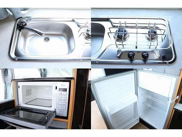 給排水シンク ガスコンロ 電子レンジ 冷蔵庫付きになります♪