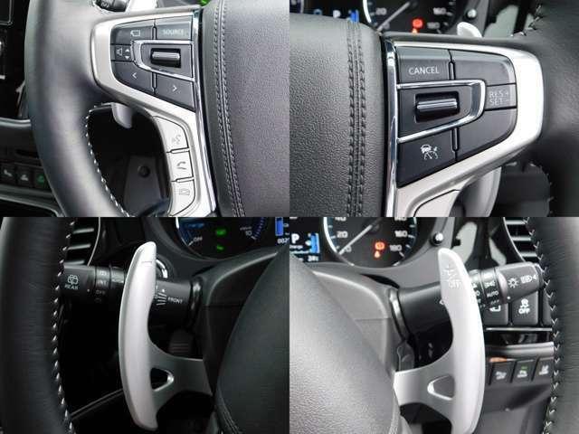 ハンドルにはレーダークルーズコントロール、オーディオコントロールのスイッチが付いています。