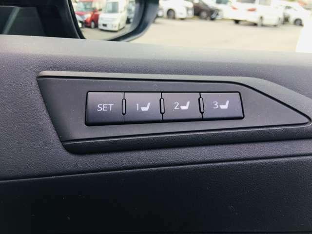 【 メモリー付パワーシート 】シートポジションがしっかり決まると、運転操作が楽になりますね♪微調整が可能なので、様々なシーンでも活躍できます。