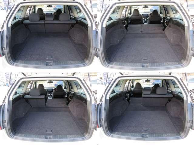 ステーションワゴンならではの広々としたラゲッジスペース♪シートを倒せば大きな荷物もへっちゃらです♪トノカバーも付いているので、荷物を隠したいときは便利です♪