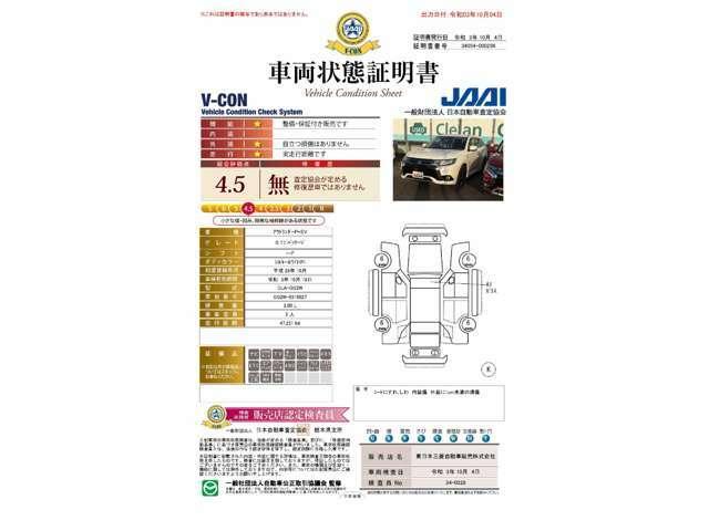 V-CONの車両状態証明書は4.5点