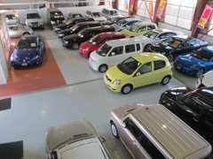 明るく広々とした屋内展示場です。展示車は屋内に常時約25台展示!!
