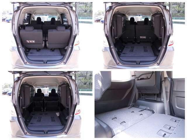 【サードシート】サードシートはミニマムサイズを確保してお座り頂ける広さがあります!式で跳ね上げ式でお使いにならない時は荷室として活躍します!