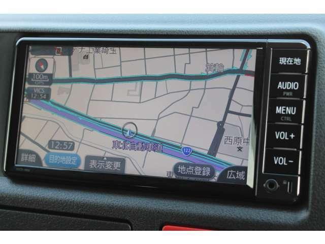 純正SDナビゲーション(NSCD-W66)が装備されています。ワンセグTVの視聴が可能です。Bluetooth対応です。