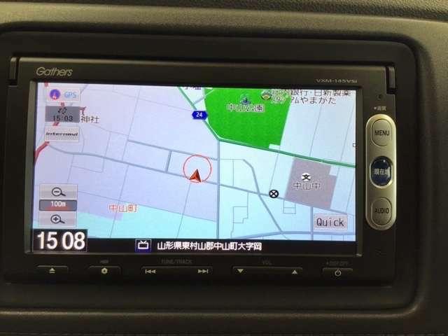 ナビゲーションはワンセグTV、インターナビ対応のGathers純正メモリーナビを搭載しています。