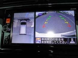 アラウンドビューモニター画像になります。4方向のカメラを合成をし上から見た様な映像にしバック駐車時の死角を無くします。