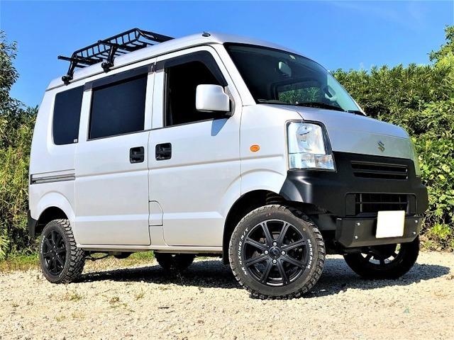 4WDターボ 車検対応リフトアップ 新品M/Tタイヤ 新品ルーフキャリア キーレス バックカメラ ETC 全席パワーウィンド
