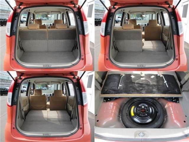 ■荷室■開口部が大きく荷物も積み下ろしなどが使いやすいです。また後部座席を倒すことによってより広くなりますので使い勝手が良く便利です☆