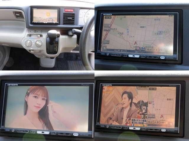 オーディオユニットはHDDナビ・カロッツェリア楽ナビが装着、ワンセグTV付きです!DVD再生や音楽CDの録音も可能!またTVとマップの2画面同時表示も可能でとっても便利!行楽ドライブも快適になります♪