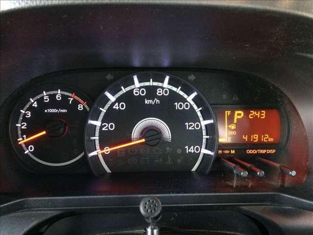 中央に大きくスピードメーターを配置したデザインで視認性に優れています。左側にタコメーター、右側に燃料計と走行距離、シフト位置などが表示されています★☆★☆★