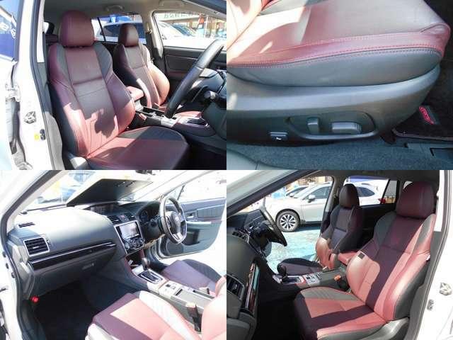 シートはSTI専用レザーシート!!フロントシートはホールド感がありロングドライブでも疲れにくい設計です!!前席は両席共にパワーシートでお好きなポジションに細かく設定可能!!シートヒーターも装備してます