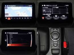 センターディスプレイにナビやフルセグTV(走行中は音声のみ)などのエンターテーメント機能を凝縮したマツダコネクト。Bluetooth・ハンズフリー電話等もできます。