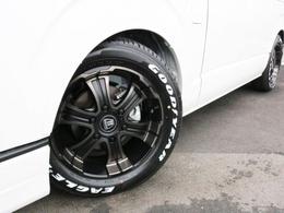 タイヤにはバルベロディープスを装着! タイヤにはナスカーホワイトレタータイヤを合わせています!