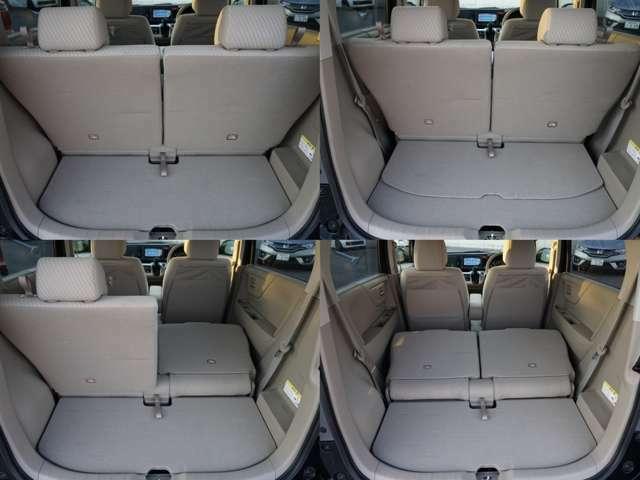 後部座席を前方にスライドさせると、さらにラゲッジスペースが広がります。後部座席を倒せば長い荷物も載せられます。お買い物でも大活躍!