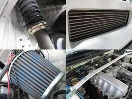 車高調 前置きインタークーラー エアクリ タワーバー装備