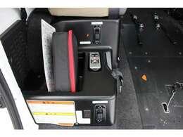 車いす固定のスイッチです。ウィンチの操作はリモコンで行います。