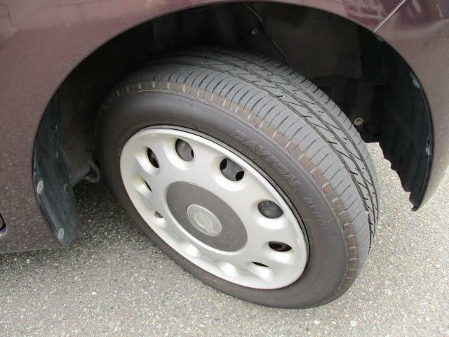 ホイールキャップ【155/65R14 ラジアルタイヤ】。運転ラクラクの足回り。タイヤの溝も、まだまだ!くわしくはスタッフへ。