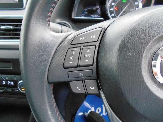 ハンドルに装備されたスイッチで、オーディオの音量やチャンネルなどを操作でき、運転中でも安心です。