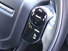 自動追従のクルーズはステアリング右側のスイッチで操作します。