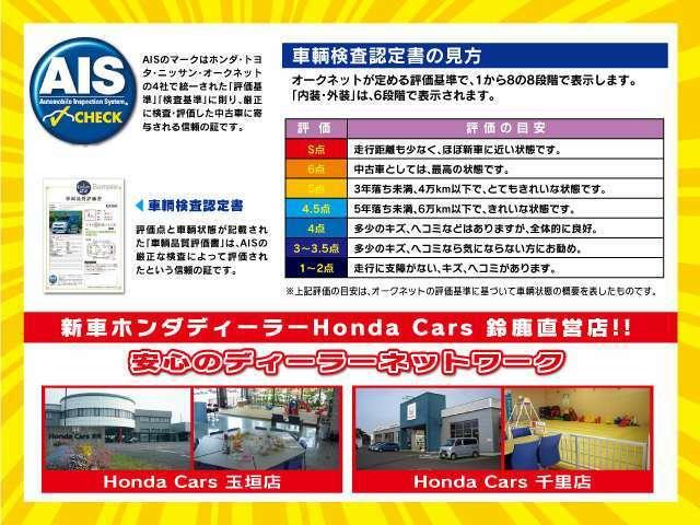 Aプラン画像:◆全車AIS(第3者機関)のチェックを開示しています!展示車には紛らわしいメーター交換車やメーター改ざん車・メーター巻き戻し車はありません!ホンダ新車ディーラー運営なので、安心とご満足をお届けします◆