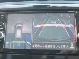 アラウンドビューモニターが駐停車時に真上から見た車全体の様子をナビの画面で表示してくれます