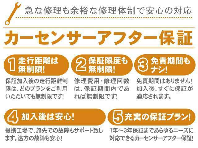 1、走行距離は無制限 2、保証限度も無制限(輸入車は80万円迄 3、免責期間もナシ!