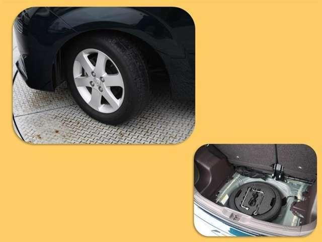 タイヤサイズは175/65R15!納車前の点検時にタイヤ交換させていただきます!スペアタイヤがついているので、パンクや不測の事態が起きても安心です!