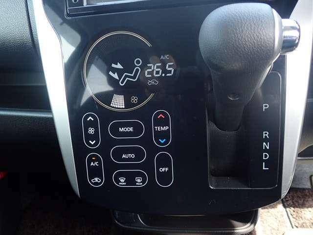シンプルなデザインでコンパクトにスイッチ類がまとまっています。エアコンも冷暖房ともによく効きますよ!