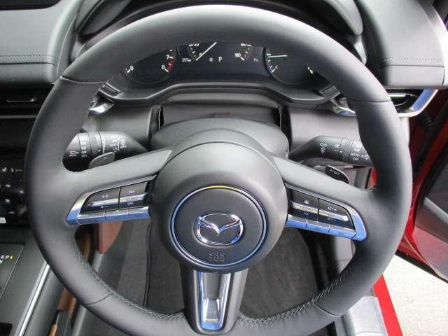 本革巻きでオーディオスイッチ付きのステアリングにアダプティブクルーズコントロール&パドルシフトまで付いて、これはもう本当に高級車です。