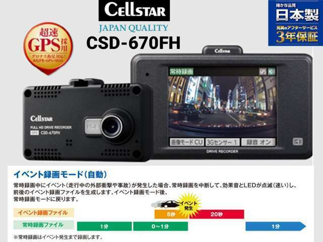 Bプラン画像:日本製3年保証 セルスタードライブレコーダー(CSD-670FH)超速GPS(グロナス衛星+みちびき+GPS+SBAS)に対応。正確な位置・走行速度・走行軌跡も記録!安全運転支援機能付き♪高画質記録!