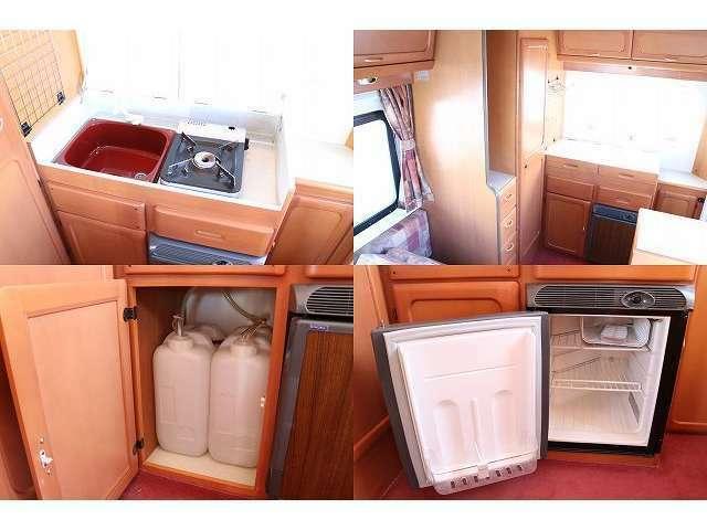 シンク(給排水各20L) 冷蔵庫 カセットコンロ