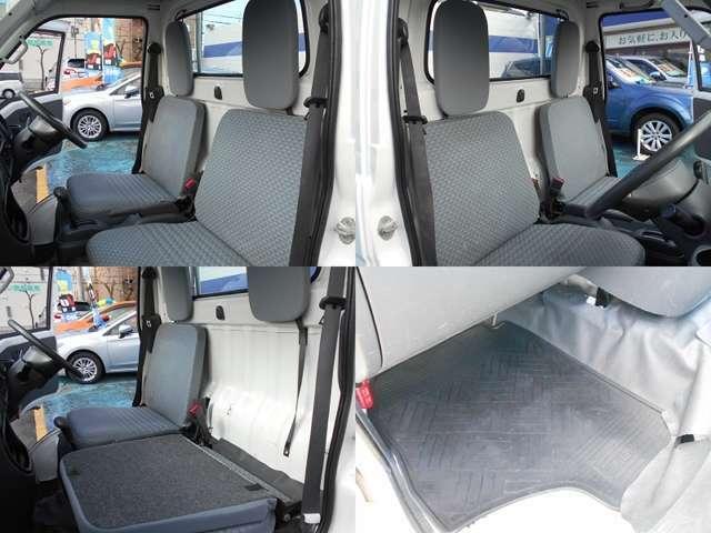 シートは汚れが付きにくいビニールタイプ!!運転席はスライド可能!!運転席、助手席共に背もたれは前倒し可能!!シートは汚れはありますが大きな切れや破れは無いのでそのままお使いいただけると思います!!!