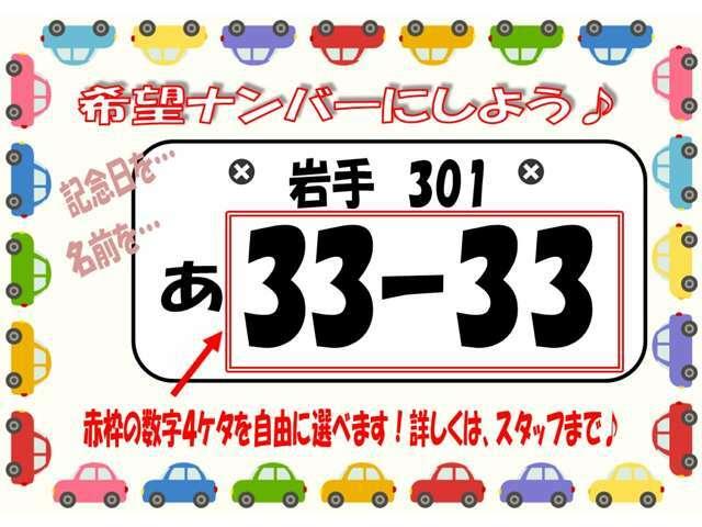 Aプラン画像:☆せっかくなら希望ナンバー☆数字4ケタをお好きな番号にできます♪