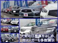 広々とした展示場に常時在庫車は60~70台程ご用意してあります、きっとお気に入りのお車が見つかると思いますよ!!