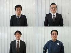 当店スタッフ 左上:曽原カーライフアドバイザー以下CA 右上:廣川CA 左下:都築CA右下:宮崎洗車スタッフ