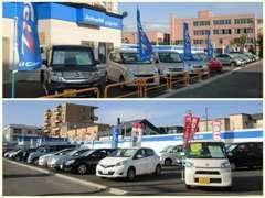 ラクラク駐車可能な広い展示場です!30台以上の保証付中古車を豊富に展示しています。