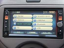 日産純正メモリーナビには、地デジTV、Bluetooth対応、CD再生、SD音楽再生など充実した装備となっております♪