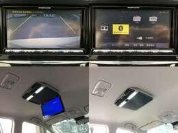 【左上&右上】フルセグTV、BTオーディオ、音楽SD録音・再生、DVD再生、バックカメラなど高機能で人気の、三菱SDナビTV  【左下&右下】LEDルームライト搭載・フリップダウンモニター