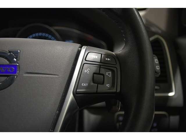 右側のステアリングスイッチで、ナビゲーションの操作が可能です。ボイスコントロールスイッチもこちらに備わります。