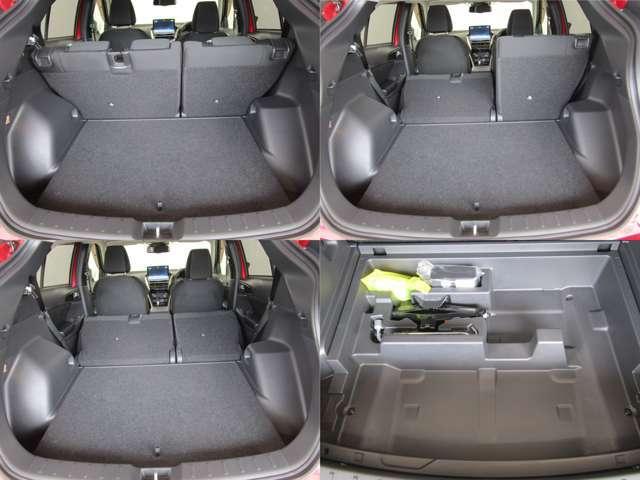 隅々まで無駄なく、たっぷり収納できます。車中泊にもご使用いただけそうですね♪ パンク修理キット!スペアタイヤは付いていません。
