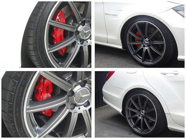 新品AMG63タイプ19インチ&新品タイヤ、スペーサーツライチセッティングです。AMGタイプレッドキャリパーカバー新品!取り外し可能です。
