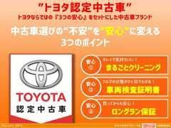 3つの安心を一台にセットしたトヨタの安心U-Car【トヨタ認定中古車】も多数ご用意しております。
