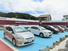 U-Car展示場です。広いスペースでごゆっくりご覧いただけます。