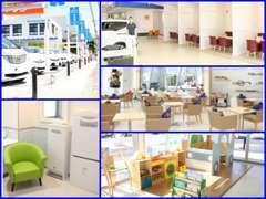 明るい店内は個室の商談ルームや授乳室、キッズコーナーも充実!