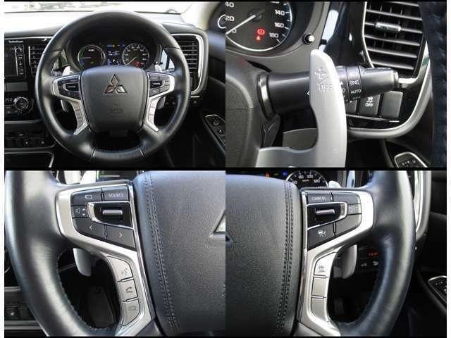 運転席エアバックの右横ににレーダークルーズコントロールシステムのスイッチ類。左横にオーディオの操作のスイッチ類が付いています。