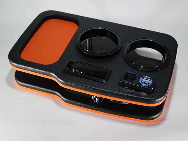 Aプラン画像:H&Lフロントセンターコンソールドリンクホルダー ブラック/レッド/オレンジ/ブルー/ホワイトレザーの中で組み合わせをお選び下さい。