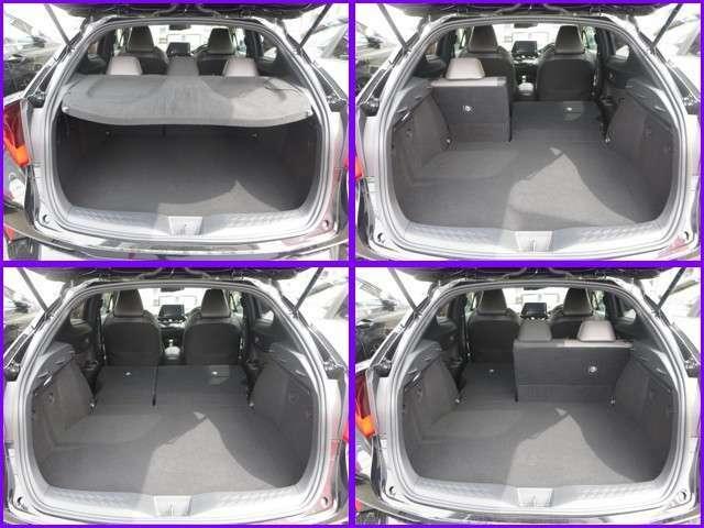 ◆リヤは6:4の分割シ-トになつています。乗車人数や荷物の量によってアレンジして下さい、又ラゲッジル-ムにはパッケ-ジトレイが付いていますので外から見える心配はありません。
