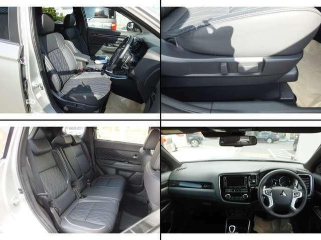 高級感のある本革シートです!運転席と助手席は電動シートとなっておりますので、最適のドライビングポジションに調整できます♪
