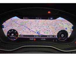 バーチャルコックピット『メーターパネル内に高解像度の12.3インチ液晶ディスプレイを配置。ディスプレイ内に地図が表示され、ナビゲーションの確認の際にドライバーは視線の移動を少なくすることができます。