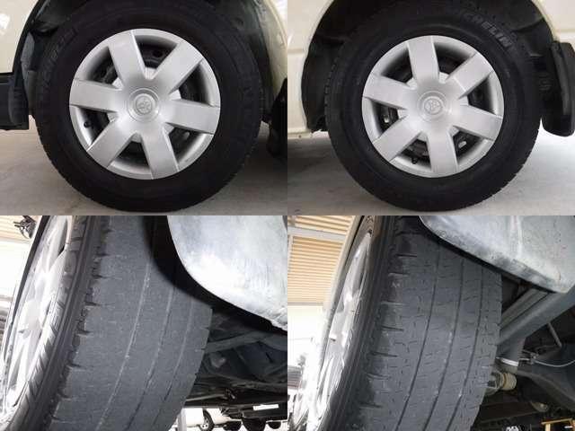 現在のタイヤの状態はラジアルタイヤ!フロント2分山.リヤ3分山程度です。スタッドレスの購入、タイヤ交換他ご相談下さい。